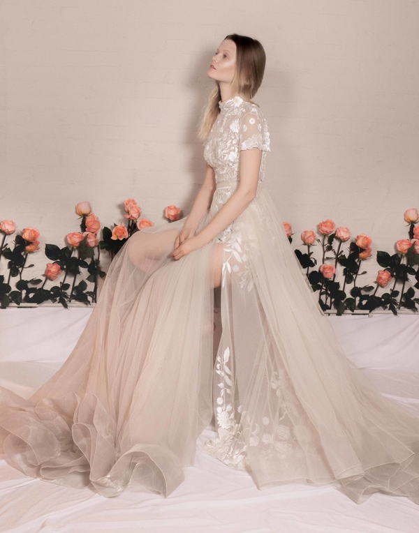 High neck shimmery cutout wedding dress with a nude tulle skirt from Hermoine de Paula Bridal Spring 2020