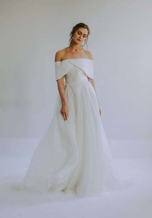Modern off the shoulder wedding dress by Leanne Marshall Bridal Spring 2020