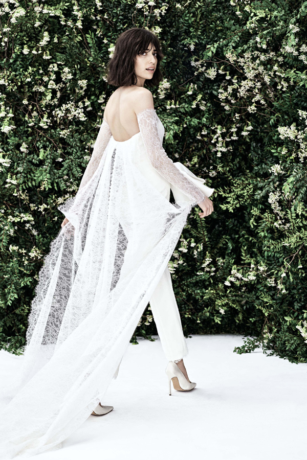 Bridal pants with cape and train by Carolina Herrera Bridal Spring 2020