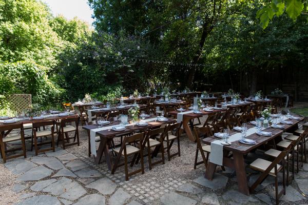 Rustic outdoor wedding reception at the Rio Villa Beach Resort in Monte Rio by destination wedding planner Mango Muse Events