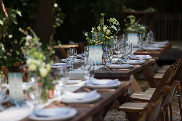 Rustic picnic wedding tablescape for a russian river destination wedding by destination wedding planner Mango Muse Events