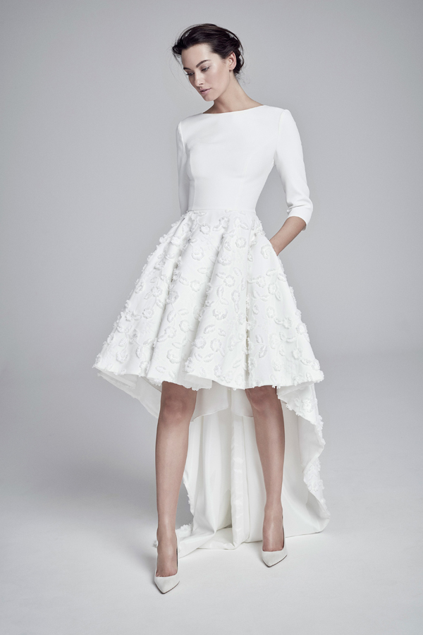 Short 3/4 sleeve detailed wedding dress with train by Suzanne Neville
