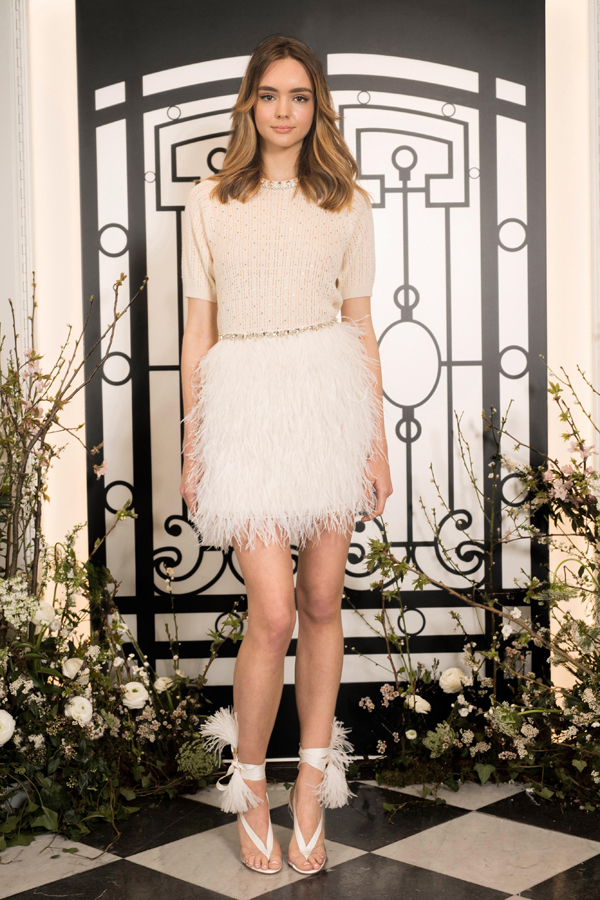 Short feather skirt wedding dress and shoes by Jenny Packham Bridal Spring 2020