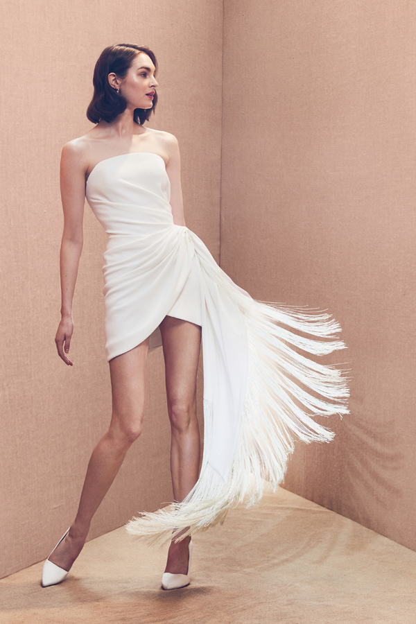 Short wedding dress with fringe by Oscar de la Renta Bridal Spring 2020