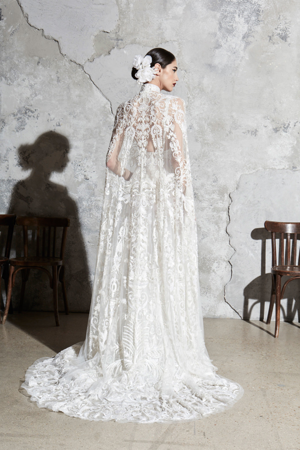 Spanish vibe lace cape wedding dress by Zuhair Murad Bridal Spring 2020
