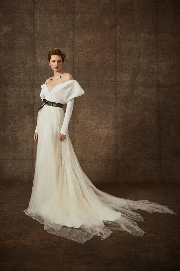 Structured off the shoulder wedding dress by Danielle Frankel Bridal Spring 2020