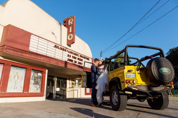 The Princess Bride Monte Rio movie theater marquee for a fun destination wedding week by destination wedding planner Mango Muse Events