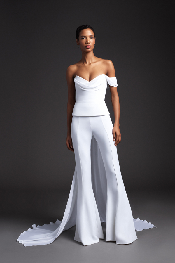 Two piece pants and one shoulder top bridal outfit with train by Cushnie Bridal Spring 2020