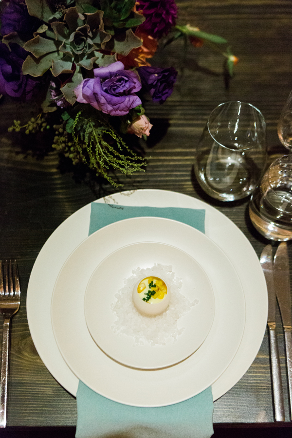Amuse bouche egg custard at a luxury San Francisco wedding by destination wedding planner Mango Muse Events