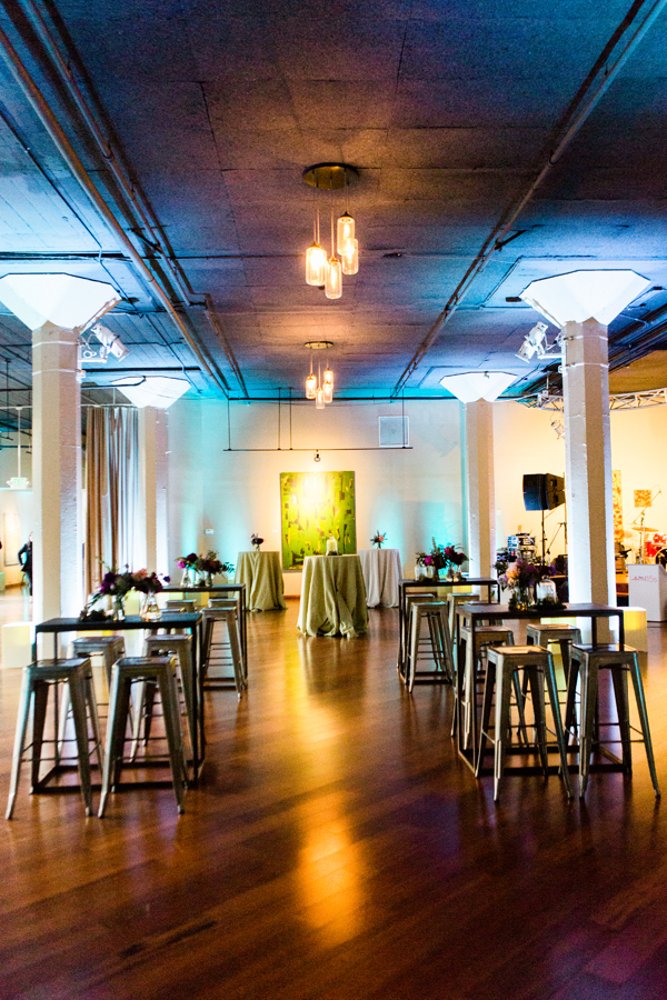 "Metal cocktail tables in a ""laboratory"" cocktail setting for a science wedding at Terra Gallery in San Francisco by destination wedding planner Mango Muse Events"