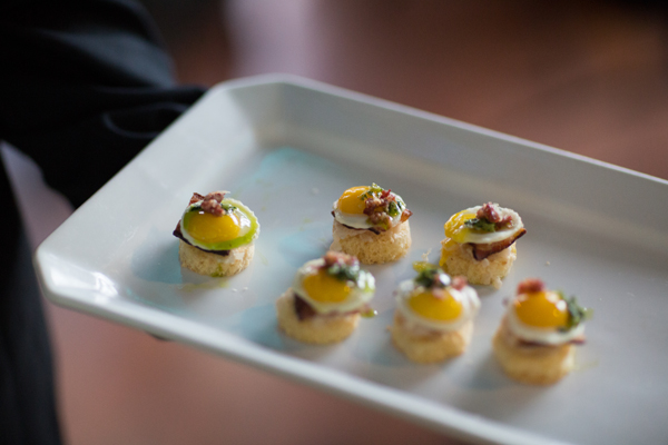 A playful appetizer of green eggs and ham at a San Francisco wedding by destination wedding planner Mango Muse Events