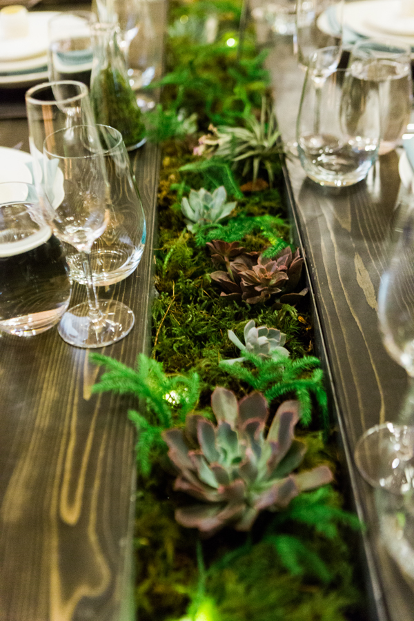 Succulent garden centerpiece table design by destination wedding planner Mango Muse Events