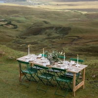 Intimate alfresco wedding reception table at a Scotland wedding on the Isle of Skye by destination wedding planner Mango Muse Events