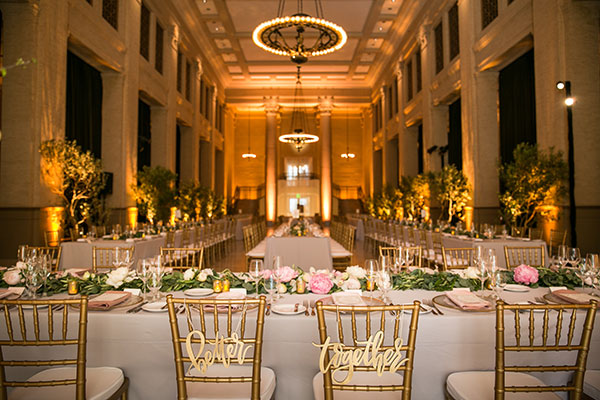 Bently reserve wedding reception with live trees at a San Francisco destination wedding by destination wedding planner Mango Muse Events
