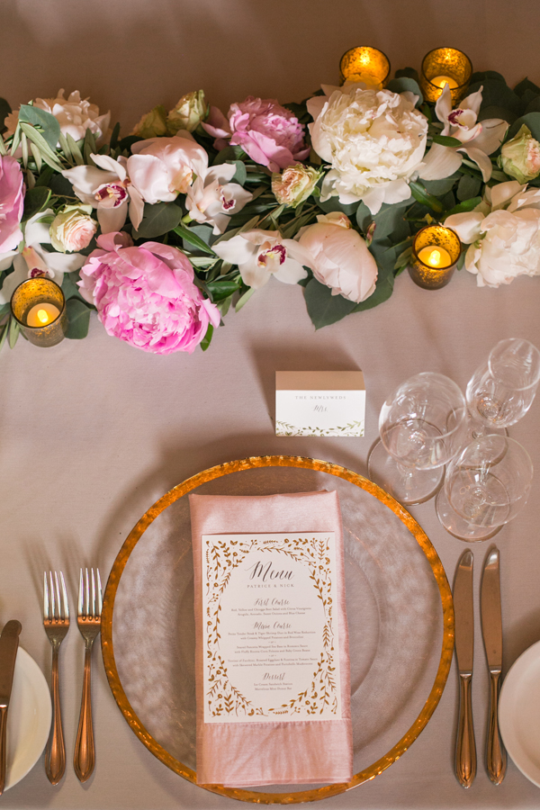 Blush flower garlands centerpieces at an elegant San Francisco wedding by destination wedding planner Mango Muse Events