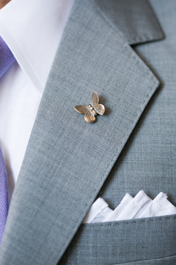 Butterfly pin in remembrance at a San Francisco wedding by destination wedding planner Mango Muse Events