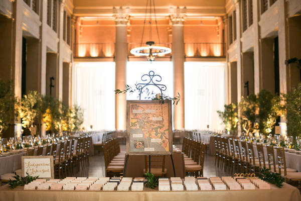 Escort cards and map of Los Angeles studios for a TV writer wedding at the Bently Reserve in San Francisco by destination wedding planner Mango Muse Events