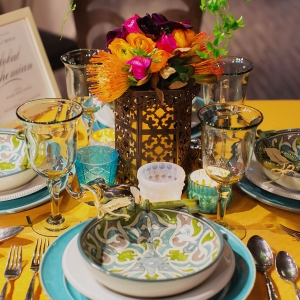 Eclectic global bohemian wedding table design for Pottery Barn by destination wedding planner Mango Muse Events