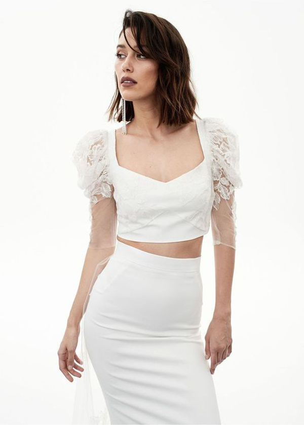 2 piece crop top and skirt by Rime Arodaky bridal Fall 2020 wedding dress trend picked by destination wedding planner Mango Muse Events