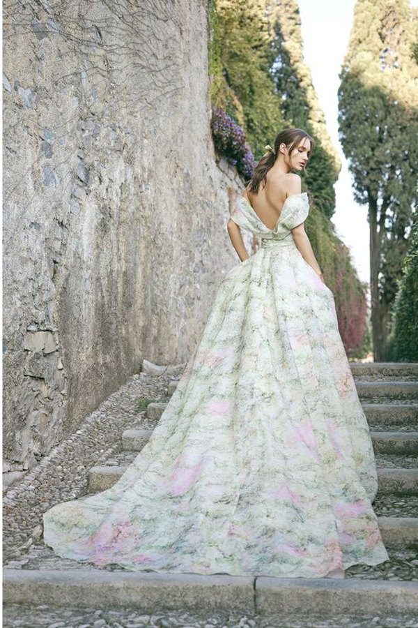 Green and pink hydrangea off the shoulder wedding dress by Monique Lhuillier Bridal Fall 2020 Wedding Dress Trend picked by destination wedding planner Mango Muse Events