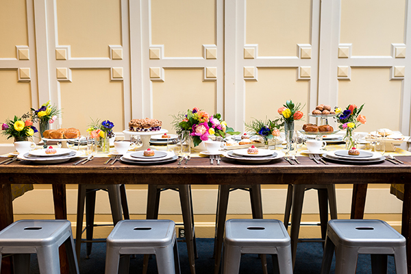 Colorful wedding brunch in San Francisco by destination wedding planner Mango Muse Events