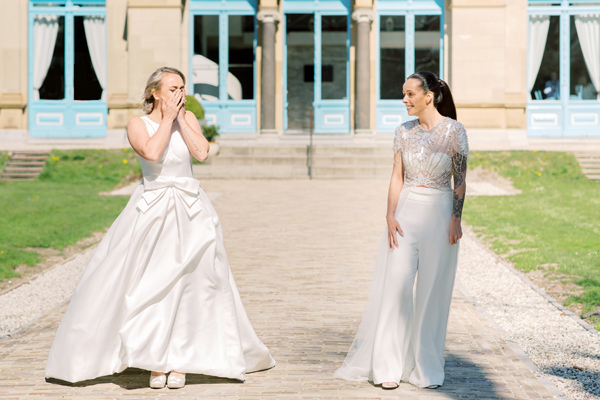 Two brides first look surprise at a same sex wedding in Amsterdam by destination wedding planner, Mango Muse Events
