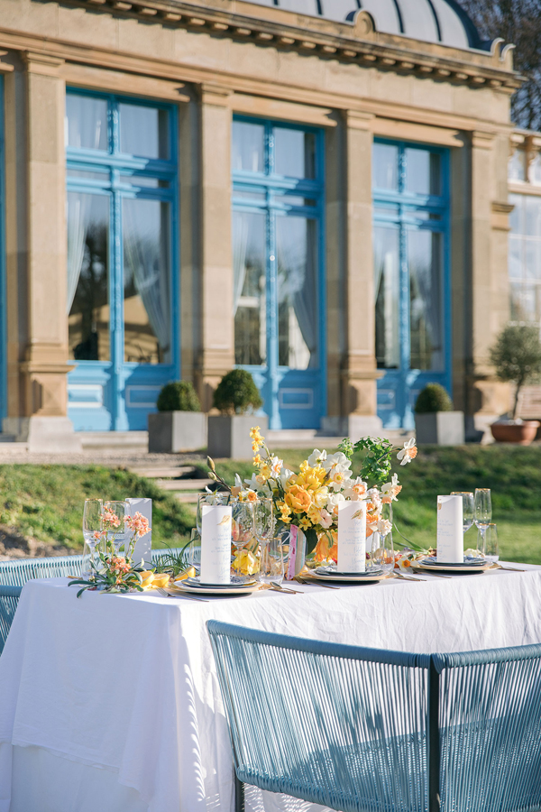 Wedding reception table at an Orangerie Elswout wedding in Holland by destination wedding planner Mango Muse Events