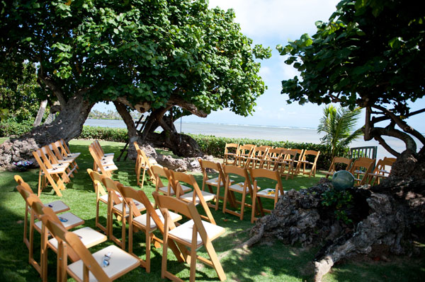 Beachfront wedding ceremony at a private estate for a Hawaii destination wedding on by Destination wedding planner Mango Muse Events