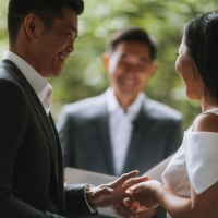 An intimate wedding ceremony presided by a friend officiant at a Vancouver wedding by destination wedding planner Mango Muse Events