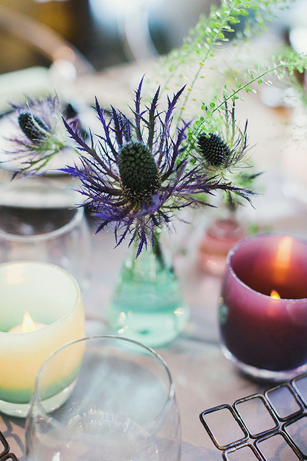 Science inspired wedding with funky flowers, glassy baby votives for a San Francisco wedding at the Exploratorium by destination wedding planner Mango Muse Events