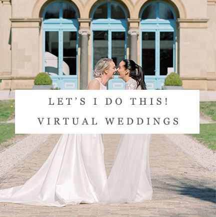 Two happy brides laughing at their intimate wedding by San Francisco bay area wedding planner Mango Muse Events founder of Let's I Do this virtual weddings