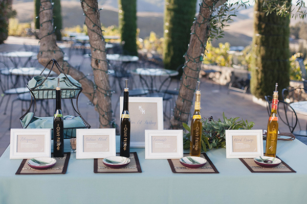 Olive oil tasting set up for a wine country wedding in Sonoma by destination wedding planner Mango Muse Events