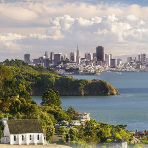 View of Bay Area from Old St. Hilary's church in Tiburon part of the 10 best outdoor intimate wedding venues in the Bay Area by SF Bay Area wedding planner Mango Muse Events and Let's I Do this small micro weddings and elopements