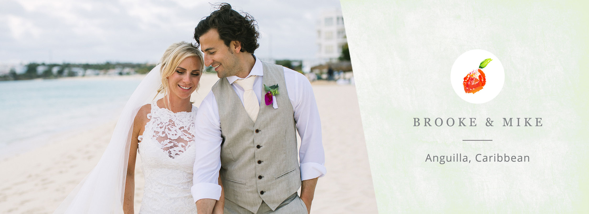 Happy couple at their fun tropical beach wedding in Anguilla Caribbean by destination wedding planner Mango Muse Events